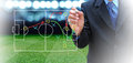 Soccer manager plan of at field Stock Photography