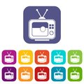 Soccer match on TV icons set flat