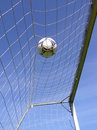 Soccer net with ball Royalty Free Stock Images