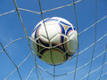 Soccer net with ball Royalty Free Stock Photo