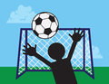 Soccer net block player blocking ball from reaching goal Royalty Free Stock Photos
