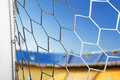 Soccer net white of gate at stadium Stock Image