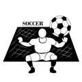 Soccer net a white silhouette of a man with a ball in a white background Royalty Free Stock Photos