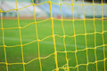 Soccer nets yellow in the stadium Stock Photography