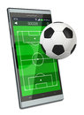 Soccer and new communication technology smartphone with field a ball concept of sport d render Royalty Free Stock Photography