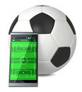 Soccer and new communication technology smartphone with field a big ball concept of sport d render Stock Photography