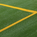 Soccer pitch line markings Stock Photo