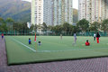 Soccer pitch in po tsui park located yuk nga lane tseung kwan o hong kong the was opened on july with a total area of Stock Images