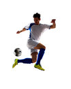 Soccer player in action football isolated white background Stock Photography