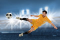 Soccer player in action kicking ball over stadium background Royalty Free Stock Photography