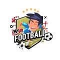Soccer player in action. logo design - vector