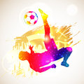 Soccer player bright rainbow silhouette and fans on grunge background vector illustration Stock Images