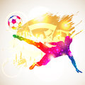 Soccer player bright rainbow silhouette and fans on grunge background vector illustration Stock Photography
