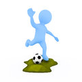 Soccer player cg kicking a ball Royalty Free Stock Photos