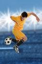 Soccer Player Doing Back Kick