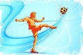 Soccer player easy to edit vector illustration of kicking ball Royalty Free Stock Photo
