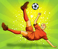 Soccer Player Flying Shooting a Ball Royalty Free Stock Photography