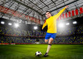 Soccer player or football is kicking ball on stadium Royalty Free Stock Photography