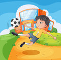A soccer player in front of the school building illustration Royalty Free Stock Photography