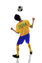 Soccer player heading ball isolated portrait of on white background Royalty Free Stock Photo