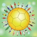 Soccer player icons doodle set of sport equipment hand drawn vector illustration signs on color background Royalty Free Stock Photos