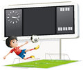 A soccer player inside the gym with a scoreboard illustration of on white background Stock Photo