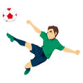 Soccer player jumping illustration of young male professional to kick ball Stock Photography