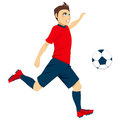 Soccer player kick illustration of young male professional ready to ball Royalty Free Stock Photography