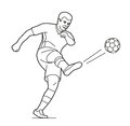 Soccer player man playing football jumping with ball.  Vector black illustration on white  white background Royalty Free Stock Photo