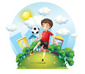 A soccer player practicing near the high buildings illustration of on white background Stock Image