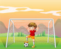 A soccer player in a red shirt illustration of Royalty Free Stock Photo