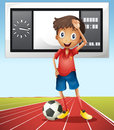 Soccer player and score board