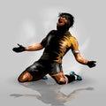 Soccer player scoring goal Royalty Free Stock Photo