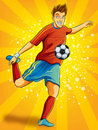 Soccer Player Shooting a Ball Royalty Free Stock Photo