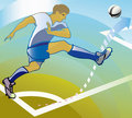 Soccer player shooting corner. Stock Image