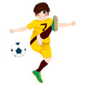 Soccer player shooting illustration of young male professional ball Royalty Free Stock Image