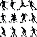 Soccer player silhouette vector Royalty Free Stock Photo