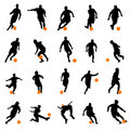 Soccer player silhouettes Royalty Free Stock Photos