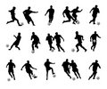 Soccer player silhouettes Royalty Free Stock Photo