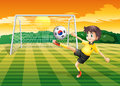 A soccer player using the ball with the flag of south korea illustration Royalty Free Stock Images