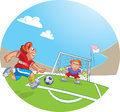 Soccer player vector illustration of a goal keeper and football boy dribbling a ball Royalty Free Stock Image