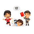 Soccer player who making tackle foul and referee showing him red card isolated on white background clipping paths included in jpg Stock Image