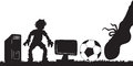 Soccer players hand drawn silouette styled vector of and computer insted of goal Stock Images