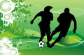 Soccer Players Illustrations Running behind Ball Stock Image