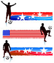Soccer Players with Patriotic Banners Stock Photography