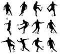 Soccer players silhouettes detailed set Stock Images