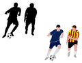 Soccer players silhouettes and illustration Stock Photo