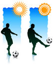 Soccer Players with Sunlight Banners Royalty Free Stock Photos