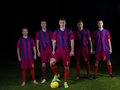 Soccer players team group isolated on black background Stock Image