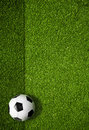 Soccer playing field and ball top view background Stock Images